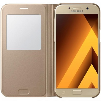Samsung A7 2017 S View Standing Cover - Gold